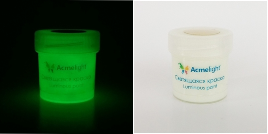 Акриловая светящаяся краска с зеленым свечением